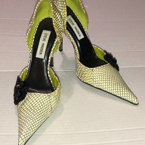 "Steve Madden ""Bling"" Embellished Chrome Heels Sz 6"
